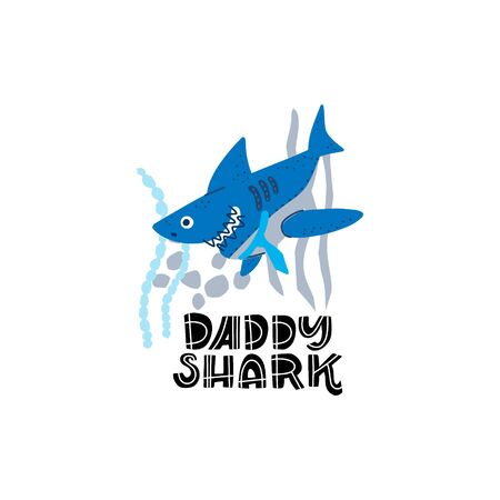 Smiling Sharks Family - Daddy Shark. T-Shirts, Hoodie, Tank. Vector illustration with text for clothes.  Premade card made in funny doodle style.