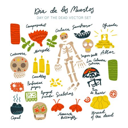 Mexican Day of the Dead  (Dia de los Muertos) clipart vector set. Hand painted illustration made in funny doodle style. Set of dramings. 일러스트