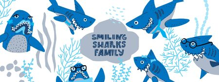 Smiling Sharks Family vector drawings set. Vector Horizontal header web template. Funny illustration text for social media.