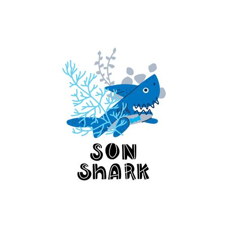 Smiling Sharks Family - Son shark. T-Shirts, Hoodie, Tank. Vector illustration with text for clothes.  Premade card made in funny doodle style.