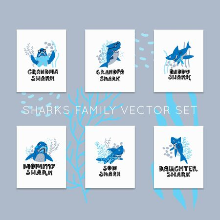 Smiling Sharks Family vector premade cards set. T-Shirts, Hoodie, Tank. Vector illustration text for clothes. 일러스트