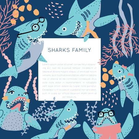Smiling Sharks Family vector drawings set. T-Shirts, Hoodie, Tank. Vector illustration text for clothes, square frame. Isolated rectangle concept.
