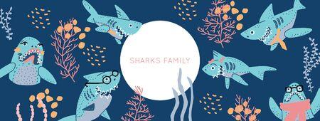 Smiling Sharks Family vector drawings set. Vector Horizontal header web template. Funny illustration text for social media.