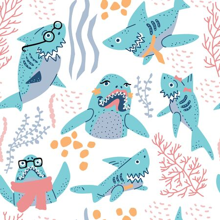Smiling Sharks Family vector drawings set. Seamless pattern for T-Shirts, Hoodie, Tank. Illustration  for clothes and merch. 일러스트