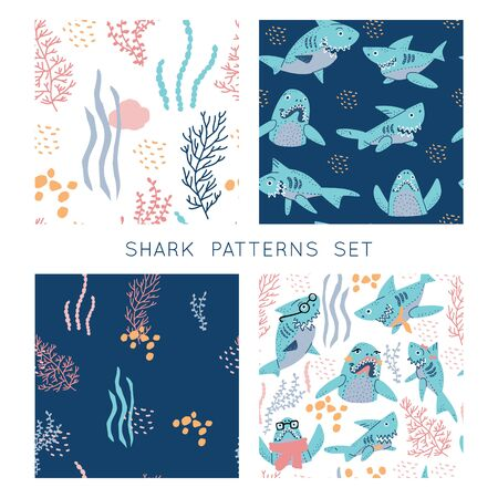 Smiling Sharks Family vector backgrounds  set. Seamless patterns bundle for T-Shirts, Hoodie, Tank. Illustration  for clothes and merch.