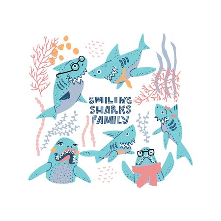 Smiling Sharks Family vector drawings set. Clipart for T-Shirts, Hoodie, Tank. Vector illustration text for clothes.