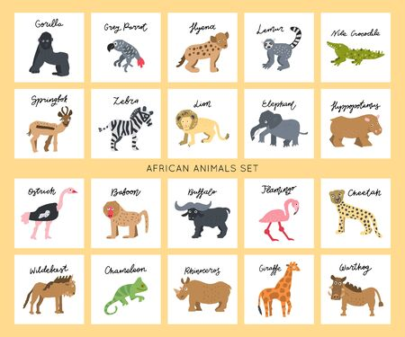 African safari animals clipart vector set. Hand drawn elements in paper-cut style. Nature inspired simple geometry shapes, textured illustration.Big bundle. Illustration