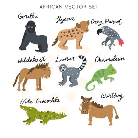 African safari animals clipart vector set. Hand drawn elements in paper-cut style. Nature inspired simple geometry shapes, textured illustration. Illustration