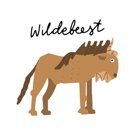 African safari Wildebeest animals clipart vector set. Hand drawn elements in paper-cut style. Nature inspired simple geometry shapes, textured illustration.