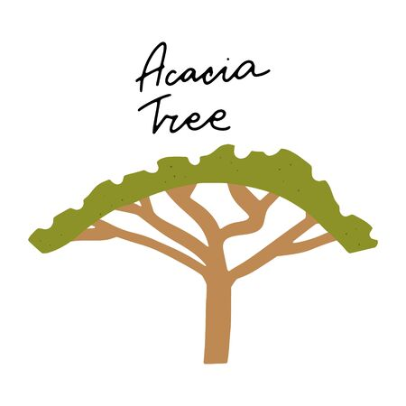 African safari Acacia Tree clipart vector set. Hand drawn elements in paper-cut style. Nature inspired simple geometry shapes, textured illustration.