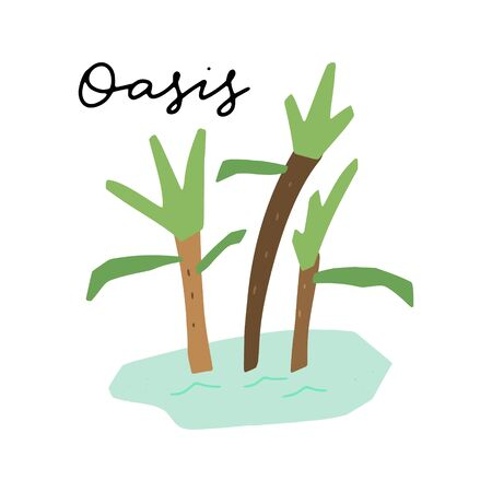 African safari Oasis clipart vector set. Hand drawn elements in paper-cut style. Nature inspired simple geometry shapes, textured illustration.