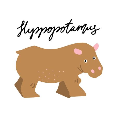 African safari Hyppopotamus animals clipart vector set. Hand drawn elements in paper-cut style. Nature inspired simple geometry shapes, textured illustration.