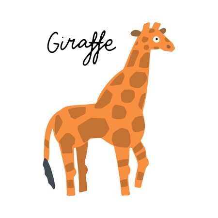 African safari Giraffe animal clipart vector set. Hand drawn elements in paper-cut style. Nature inspired simple geometry shapes, textured illustration.