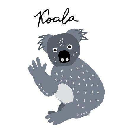 Australian bear Coala vector illustration clipart. Kids design poster. Wild mammal drawing in scandinavian style. Handwritten lettering. Exotic wildlife.