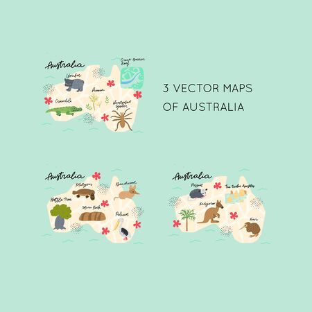 Drawn Map of Australia with colorful landmarks illustration design. Kids design poster. Geography drawing in scandinavian 