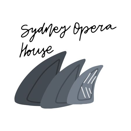 Australian Landmark Sydney Opera House vector illustration. Vector isolated clipart. Kids design poster. Drawing in scandinavian style. 