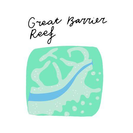 Australian Landmark Great Barrier Reef vector illustration. Vector isolated clipart. Kids design poster. Drawing in scandinavian style. Handwritten lettering.