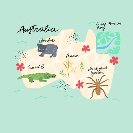 Drawn Map of Australia with colorful landmarks illustration design. Kids design poster. Geography drawing in scandinavian style.