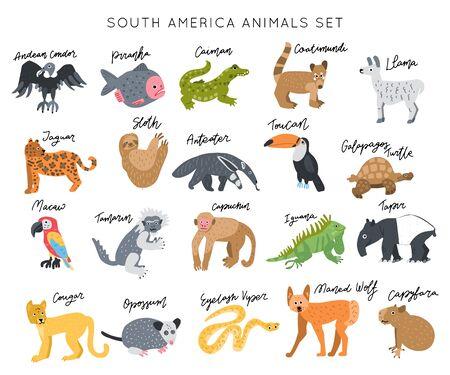 South America Animal vector illustration clipart set. Kids design posters bundle. Wild mammal drawing in scandinavian style. Handwritten lettering. Exotic wildlife.
