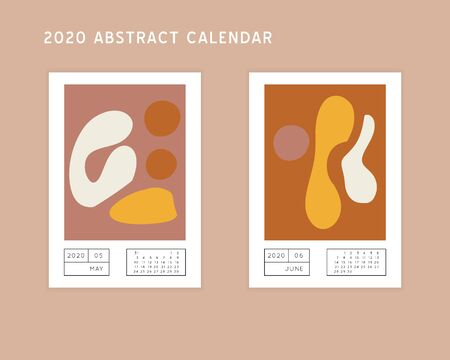 Collage style Fluid organic geometry shapes 2020 May, June calendar. Modern and original wall art design. Social media mockup. Week starts on subnday.