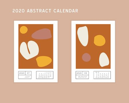 Collage style Fluid organic geometry shapes 2020 July, August calendar. Modern and original wall art design. Social media mockup. Week starts on subnday.