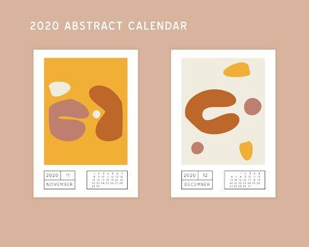 Collage style Fluid organic geometry shapes 2020 November, December calendar. Modern and original wall art design. Social media mockup. Week starts on subnday.