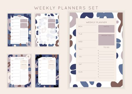Set of minimalist planners. Weekly planner template. Blank white notebook page with feminine fluid shapes texture. Business organizer page. Paper sheet.