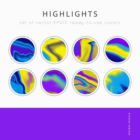 Social media Highlight covers background templates.Set of marble textures.Use as a backdrop for icons or your design.Vector abstract mockup.Colors yellow, blue, purple