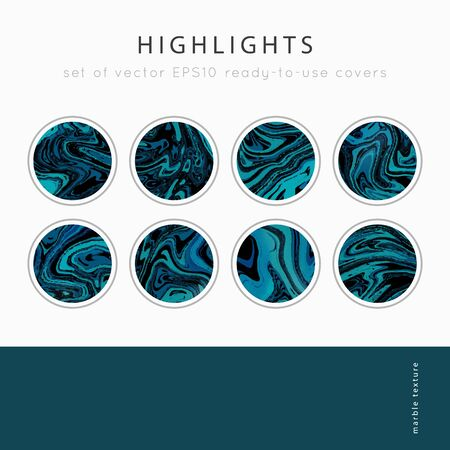 Social media Highlight covers background templates.Set of marble textures.Use as a backdrop for icons or your design.Vector abstract mockup.Colors black, blue