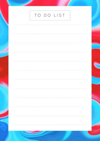 Vector marble planner.Daily, weekly, monthly planner template.Blank printable vertical notebook page with space for notes and goals.Paper sheet size A4.Fluid modern style.Colors blue\red
