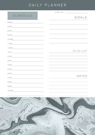 Vector marble planner.Daily, weekly, monthly planner template.Blank printable vertical notebook page with space for notes and goals.Paper sheet size A4.Fluid modern style.Colors grey\white Ilustração