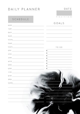 Vector marble planner.Daily, weekly, monthly planner template.Blank printable vertical notebook page with space for notes and goals.Paper sheet size A4.Fluid modern style.Monochrome black\white 일러스트