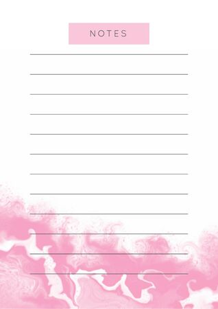 Vector marble planner.Daily, weekly, monthly planner template.Blank printable vertical notebook page with space for notes and goals.Paper sheet size A4.Fluid modern style.Pink on white