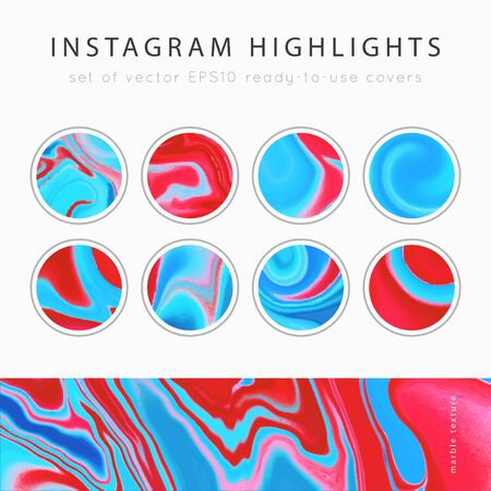 Highlight covers background templates.Set of marble textures.Use as a backdrop for icons or your design.Vector illustration. Social media mockup.Colors blue, red and pink