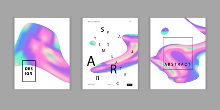 Vector Iridescent holographic fluid shapes  in vibrant gradient colors.Set of covers.Trippy and distorted  image, psychedelic hippie style. Synthwave retrowave vaporwave neon aesthetics.