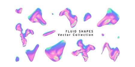Vector Iridescent holographic fluid abstract drawing  in vibrant gradient colors.Set of shapes.Trippy and distorted  image, psychedelic hippie style. Synthwave retrowave vaporwave neon aesthetics.