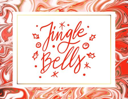 Jingle Bells quote. Modern white and red Christmas candy texture background. Good for design covers, presentation, invitation, flyer, poster, business card and social media.