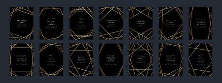 Vector modern Yellow Gold wedding invitation templates set.Art Deco geometric diamond frames.Polygon luxury classy design background.Brochure, flyer, cover, poster, card, logo, business identity style.