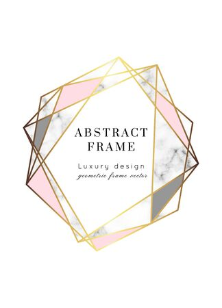 Vector marble modern wedding invitation template. Geometric shape frame with space for text.Luxury classy Yellow Gold design with rose and gray triangles.Brochure, flyer, cover, poster, card, logo, business identity style. Logo