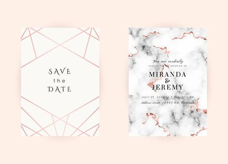 Vector marble modern wedding invitation templates set. Geometric frame with space for text.Luxury classy Rose Gold design.Pink brochure, flyer, cover, poster, card, logo, business identity style.