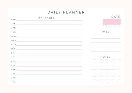 Planificateur abstrait minimaliste de vecteur. Organisateur féminin moderne dans des couleurs roses roses pastel. Modèle de planificateur quotidien, hebdomadaire, mensuel. Page de cahier horizontal imprimable vierge. Taille de la feuille de papier A4.