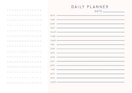 Minimalistischer abstrakter Planer des Vektors. Moderner weiblicher Organisator in den Pastellrosa-Rosenfarben. Tägliche, wöchentliche, monatliche Planerschablone. Leere druckbare horizontale Notizbuchseite. Papierblattgröße A4.
