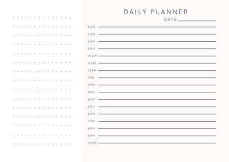 Vector minimalist abstract planner.Modern female organizer in pastel pink rose colors.Daily, weekly, monthly planner template.Blank printable horizontal notebook page.Paper sheet size A4.