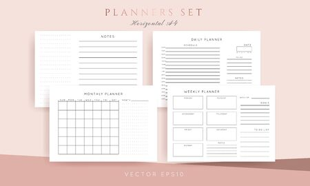 Set of minimalist abstract planners. Daily, weekly, monthly planner template. Blank printable horizontal notebook page with space for notes and goals.  Business organizer. Paper sheet size A4.