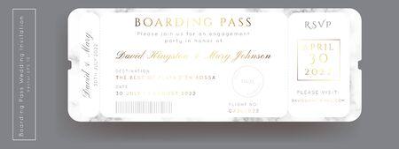Destination Wedding Passport Invitation Vector.Boarding Pass marble ticket template.Modern luxury gold design.