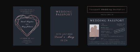 Destination Wedding Passport Invitation Vector Set.Boarding Pass ticket template.Modern luxury Geometric Heart  Rose Gold design.