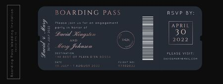 Destination Wedding Boarding Pass Invitation.Rose Gold Foil Vector passport ticket template.Modern luxury VIP design.