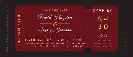Reach Burgundy Movie Ticket. Wedding Invitation Vector Design.Vintage luxury design.Admission vip ticket of circus,party,cinema,theater,concert.Coupons template ticketing label with seat numbers. Illustration