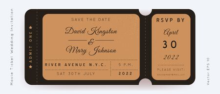 Black and Craft Movie Ticket. Wedding Invitation Vector Design.Vintage luxury design.Admission vip ticket of circus,party,cinema,theater,concert.Coupons template ticketing label with seat numbers.