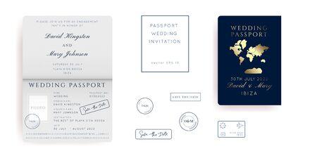 Gold Foil Destination Wedding Passport Invitation Vector Set.Boarding Pass ticket template.Modern luxury design.
